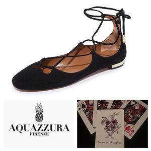 NWOB Aquazzura Dancer Lace up Flats 36 Black